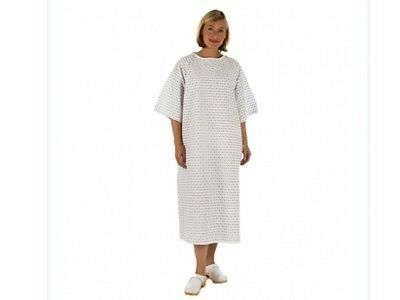3 x Unisex NHS Wrap over White PATIENT GOWN, Hospital Reusable Night Dress