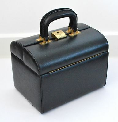 VINTAGE 1950s BLACK VANITY / MAKE UP CASE LUGGAGE SUITCASE