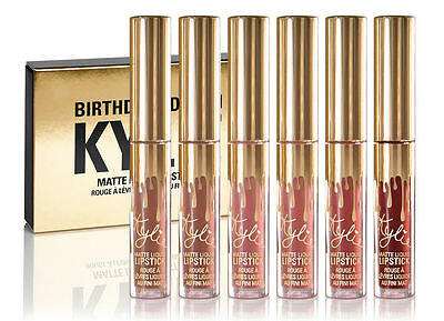 Kylie Jenner Matte Liquid Lipstick Mini Birthday Collection 6pc Lip Kits Set.