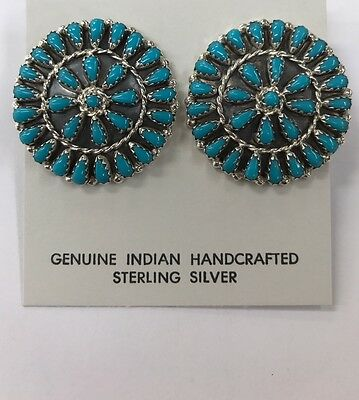 Native American sterling silver navajo turquoise Post  cluster earrings