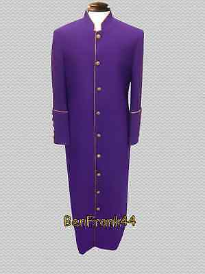 NWT Men's Clergy Robe Minister Pastor Cassock Preacher WOW Clerical Purple Gold