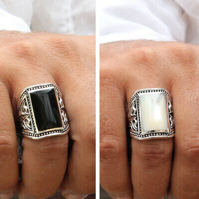 925 Sterling Silver Men Ring Black Onyx Stone White Shell Size 8 10 11 12 13 14