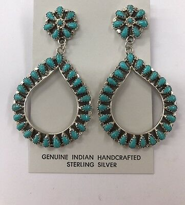 Native American sterling silver handmade Turquoise cluster dangle earring