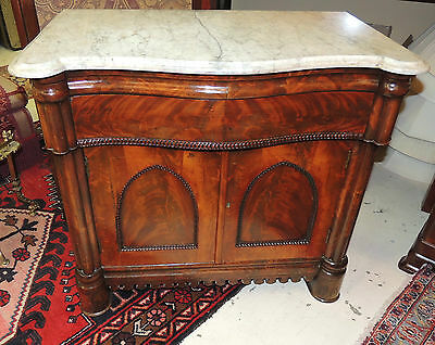 Beautiful 19th Century Gothic Wash Stand double-door mahogany Carrera marble top