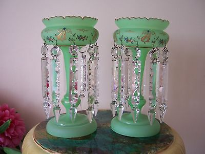 A VERY PRETTY PAIR OF 19th CENTURY FRENCH /  BOHEMIAN OPALINE GLASS LUSTERS 1870