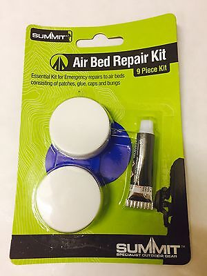 Air Bed Repair Kit - New 9-Piece kit with Patches, Glue, Bungs, Caps Airbed