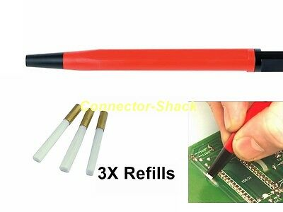 Fibre Pen Pencil Abrasive Cleaning + 3 x Fibreglass Refills Electronics PCB Etc