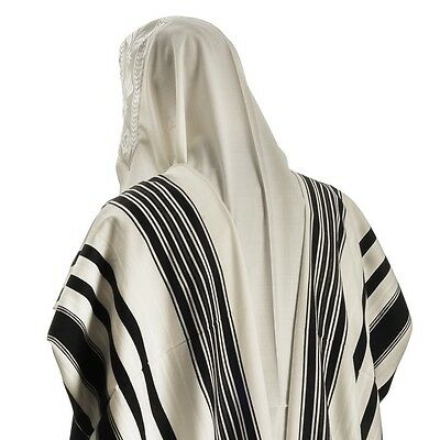Classic Wool Tallit in Blue, Black, White