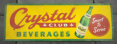 "HTF 1940's Crystal Club Beverages Ginger Ale Tin Litho Sign 10"" x 28"" Embossed"