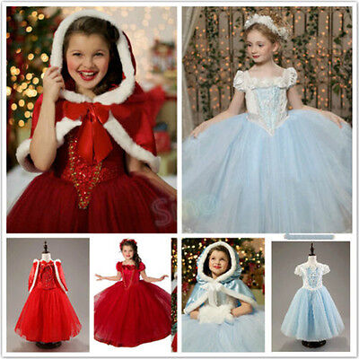Girls Princess Cinderella Elsa Anna Cosplay Costume Party Fancy Dress Fur Cape