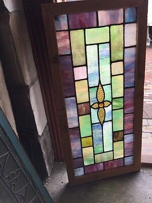 "Sg 898 Antique All Stained Glass Transom Window 19"" X 39.5"""