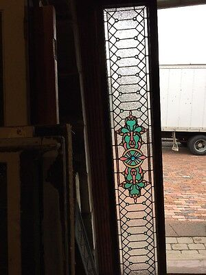 "Sg 900 Antique Stainglass Transom Window 16"" X 84 And Three-Quarter Inch"