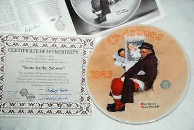 Santa in SUBWAY KNOWLES Collector PLATE N. Rockwell P8 yy