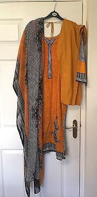Ladies 3pc Lawn Cotton Trousers Salwar Kameez Suit Tunic Kurti Shirt M 12-14