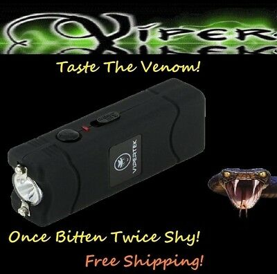 ViperTek Stun Gun Black 50 Trillion volt Rechargeable LED light + Holster
