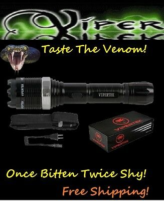ViperTek Stun Gun Black Silver 30  TV Metal POLICE + LED LIGHT+ HOLSTER