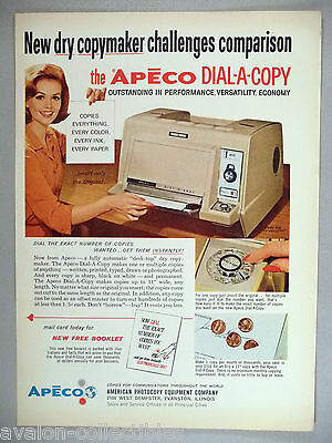 Apeco Dail-A-Copy Copier PRINT AD - 1964 ~~ photocopy machine
