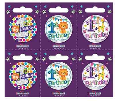 Small FIRST 1st year old Birthday Badges ALL AGES available Holographic BOY GIRL