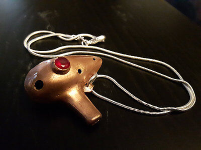 Metal ocarina pendant with red gemstone and chain - Zelda inspired real flute
