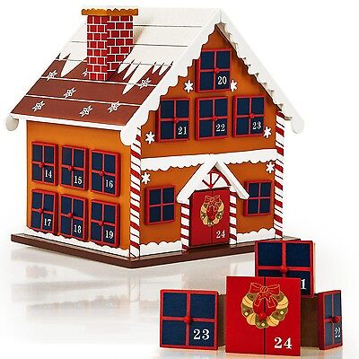 Christmas Cottage House Wooden Advent Calendar 24 Numbered Drawers Decoration