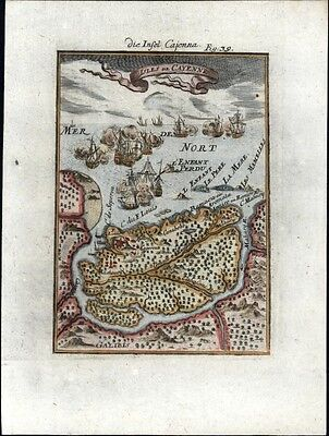Cayenne French Guyana Guiana South America 1719 charming antique engraved map