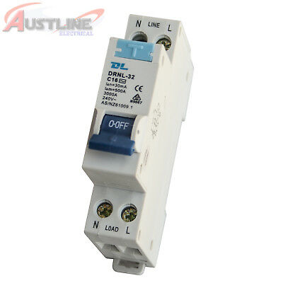 RCD / MCB Safety Switch Circuit Breaker RCBO 1 Pole +N 3KA 16A