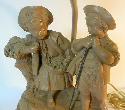 Vintage Terra Cotta Plaster Lamp COUNTRY FRENCH Young Girl & Boy Grapes Signed