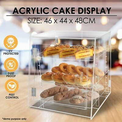 NEW Durable Cake Display Cabinet w/ Angled Shelves, 3.5-8mm Thick Clear Acrylic