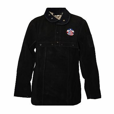 AA Premium Black FR Cowhide Leather Welding Cape Sleeves and Bib Size S to 4XL