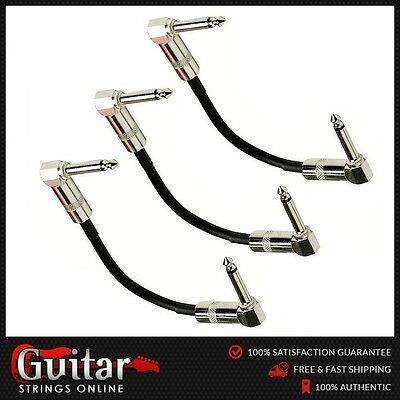 """3 x Pro Series 6"""" (15cm) Guitar Effects Pedal Patch Cable Lead High Quality"""