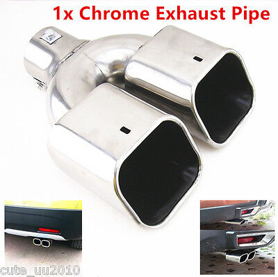 Car Stainless Steel Chrome Dual Square Angle Cut Slanted Exhaust Muffler Tip Pip