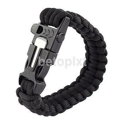 Black Bracelet Outdoor Survival Equipment Flint Fire Starter Scraper Whistle