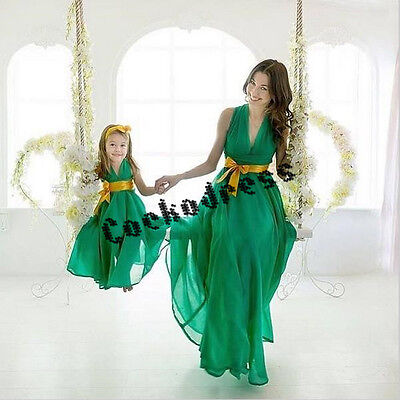2017 New Mother and Daughter Dress Matching Evening Prom Gown with Gold Belt