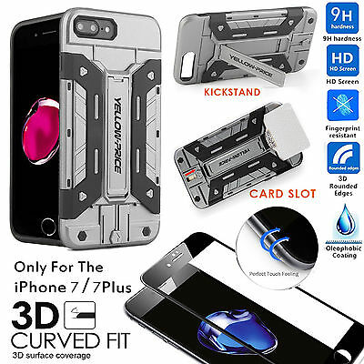 iPhone 7 Plus/7/6S/6 Case [+3D Full Coverage REAL Glass ] HEAVY DUTY TOUGH ARMOR