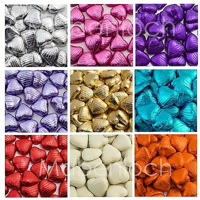 Milk Chocolate Hearts Foil Wrapped Wedding & Party Table Favours, Belgian