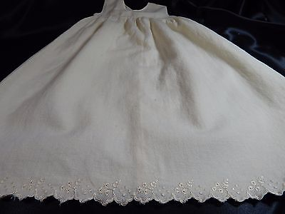 Antique BABY DRESS~IVORY Infant GOWN FLANNEL EMBROIDERY~EDWARDIAN VINTAGE BB118