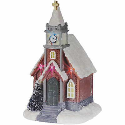 Colour Changing LED Christmas Church Ornament Battery Light Up Decoration 17cm