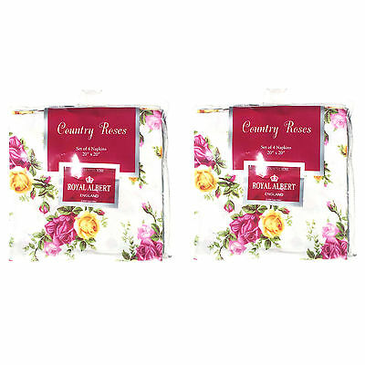 "Set of 8 Royal Albert Old Country Roses Napkins - 2 Packs - 20"" x 20""  NEW"