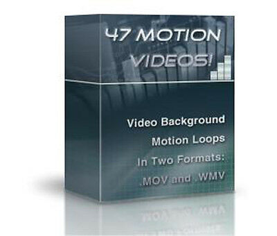 47 Motion Video Background Loops with Private Label Rights on CD!