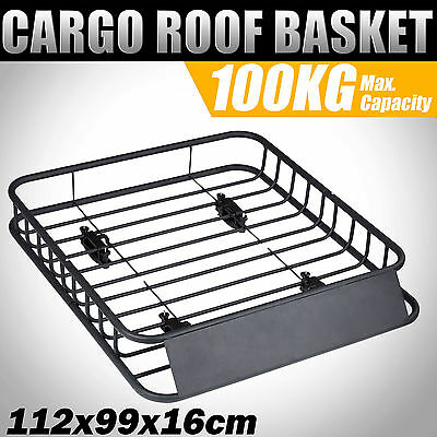 Universal Roof Basket Cargo Top Luggage Rack Powder Coated Mesh Carrier 1.12m