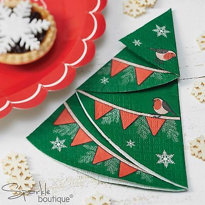 CHRISTMAS TREE SHAPED PAPER NAPKINS-Xmas Party-FULL LUXURY VINTAGE RANGE IN SHOP