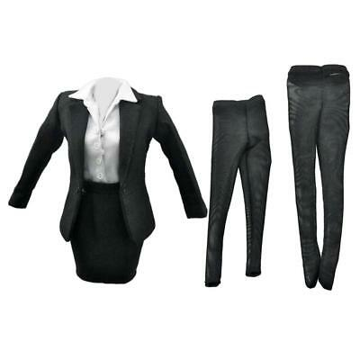 """Black Business Skirt Suit For 1/6 Scale Female 12"""" Action Figure Phicen BBI"""