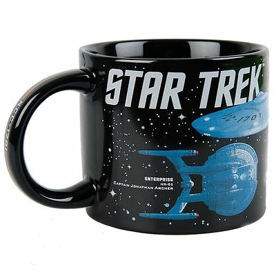 50 years of Star Trek Starships Black Ceramic 12 oz Mug