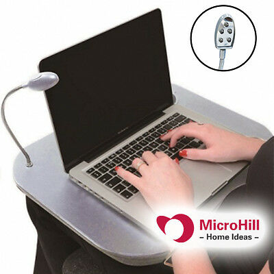 Laptop Lap Desk Table with LED Lamp Light Portable Cushioned with Cup Holder