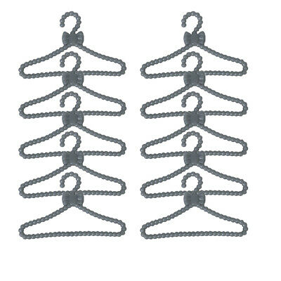 12pcs Gray Plastic Clothes Dress Rack Coat Hanger Holder for Barbie Ken Doll