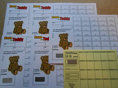Name The Teddy Scratch Card-Coloured ( 40 Spaces) Easy Way To Raise Funds = X 5