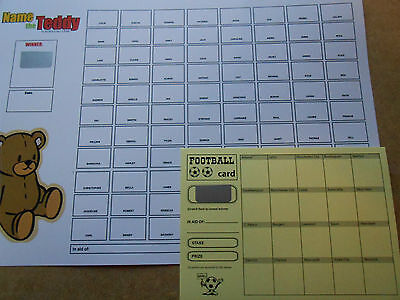 Name The Teddy Scratch Cards - 88 Spaces( Coloured) - One Card+Free Scratch Card