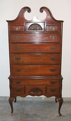 Mahogany Highboy 18th Century Revival New England Style Tallboy Chest of Drawers