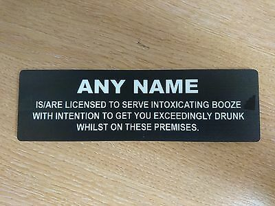 Personalised Home Pub Bar Licensee Man Cave Shed Sign Humorous