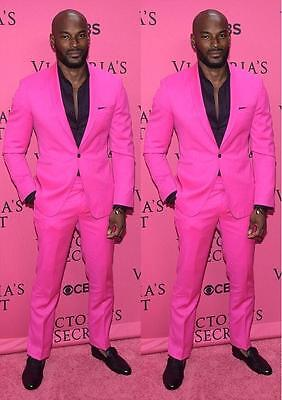 New Arrival Shawl Lapel Groom Tuxedos Hot Pink Men Wedding Suits Party Prom Suit